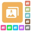 Download multiple images rounded square flat icons - Download multiple images flat icons on rounded square vivid color backgrounds.