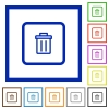 Delete object flat framed icons - Delete object flat color icons in square frames on white background