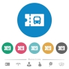 Public transport discount coupon flat round icons - Public transport discount coupon flat white icons on round color backgrounds. 6 bonus icons included.