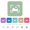 Camera landscape mode flat icons on color rounded square backgrounds - Camera landscape mode white flat icons on color rounded square backgrounds. 6 bonus icons included