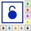 Unlocked round padlock flat framed icons - Unlocked round padlock flat color icons in square frames on white background