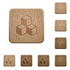 Cubes wooden buttons - Cubes on rounded square carved wooden button styles