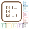 Source code checking simple icons in color rounded square frames on white background - Source code checking simple icons