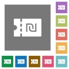 New Shekel discount coupon square flat icons - New Shekel discount coupon flat icons on simple color square backgrounds