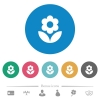 Flower flat white icons on round color backgrounds. 6 bonus icons included. - Flower flat round icons