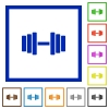 Gym flat color icons in square frames on white background - Gym flat framed icons