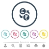 Pound Rupee money exchange flat color icons in round outlines - Pound Rupee money exchange flat color icons in round outlines. 6 bonus icons included.