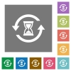 Reload symbol with sandglass square flat icons - Reload symbol with sandglass flat icons on simple color square backgrounds