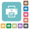 Wireless printer rounded square flat icons - Wireless printer white flat icons on color rounded square backgrounds