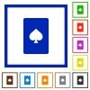 Spades card symbol flat framed icons - Spades card symbol flat color icons in square frames on white background