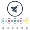 Space shuttle flat color icons in round outlines - Space shuttle flat color icons in round outlines. 6 bonus icons included.