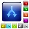 Split arrows down color square buttons - Split arrows down icons in rounded square color glossy button set