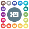 Movie discount coupon flat white icons on round color backgrounds - Movie discount coupon flat white icons on round color backgrounds. 17 background color variations are included.