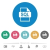 SQL file format flat round icons - SQL file format flat white icons on round color backgrounds. 6 bonus icons included.