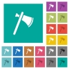 Single tomahawk square flat multi colored icons - Single tomahawk multi colored flat icons on plain square backgrounds. Included white and darker icon variations for hover or active effects.