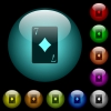 Seven of diamonds card icons in color illuminated glass buttons - Seven of diamonds card icons in color illuminated spherical glass buttons on black background. Can be used to black or dark templates