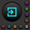 Import with inside arrow dark push buttons with color icons - Import with inside arrow dark push buttons with vivid color icons on dark grey background