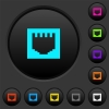 Ethernet connector dark push buttons with vivid color icons on dark grey background - Ethernet connector dark push buttons with color icons