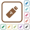 Wireless usb stick simple icons - Wireless usb stick simple icons in color rounded square frames on white background