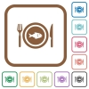 Fish for lunch simple icons - Fish for lunch simple icons in color rounded square frames on white background
