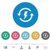 Renewable energy flat round icons - Renewable energy flat white icons on round color backgrounds. 6 bonus icons included.