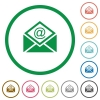 Open mail with email symbol flat icons with outlines - Open mail with email symbol flat color icons in round outlines on white background