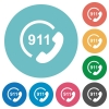 Emergency call 911 flat round icons - Emergency call 911 flat white icons on round color backgrounds