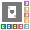 Nine of hearts card square flat icons - Nine of hearts card flat icons on simple color square backgrounds