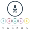 Eco energy flat color icons in round outlines. 6 bonus icons included. - Eco energy flat color icons in round outlines