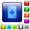 King of clubs card color square buttons - King of clubs card icons in rounded square color glossy button set