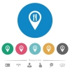 Restaurant GPS map location flat round icons - Restaurant GPS map location flat white icons on round color backgrounds. 6 bonus icons included.
