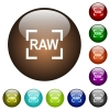 Camera raw image mode color glass buttons - Camera raw image mode white icons on round color glass buttons
