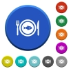 Fish for lunch beveled buttons - Fish for lunch round color beveled buttons with smooth surfaces and flat white icons