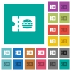 Fast food restaurant discount coupon square flat multi colored icons - Fast food restaurant discount coupon multi colored flat icons on plain square backgrounds. Included white and darker icon variations for hover or active effects.