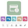 Lock credit card transactions flat icons on color rounded square backgrounds - Lock credit card transactions white flat icons on color rounded square backgrounds. 6 bonus icons included