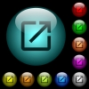 Open in new window icons in color illuminated glass buttons - Open in new window icons in color illuminated spherical glass buttons on black background. Can be used to black or dark templates