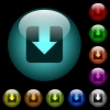 Download icons in color illuminated spherical glass buttons on black background. Can be used to black or dark templates - Download icons in color illuminated glass buttons