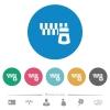 Horizontal zipper flat round icons - Horizontal zipper flat white icons on round color backgrounds. 6 bonus icons included.