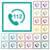 Emergency call 112 flat color icons with quadrant frames - Emergency call 112 flat color icons with quadrant frames on white background