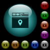 Browser get location icons in color illuminated spherical glass buttons on black background. Can be used to black or dark templates - Browser get location icons in color illuminated glass buttons