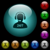 24 hours operator service icons in color illuminated spherical glass buttons on black background. Can be used to black or dark templates - 24 hours operator service icons in color illuminated glass buttons