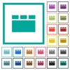 Horizontal tabbed layout flat color icons with quadrant frames - Horizontal tabbed layout flat color icons with quadrant frames on white background