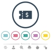 Dollar discount coupon flat color icons in round outlines - Dollar discount coupon flat color icons in round outlines. 6 bonus icons included.