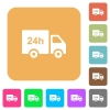 24 hour delivery truck rounded square flat icons - 24 hour delivery truck flat icons on rounded square vivid color backgrounds.