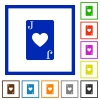 Jack of hearts card flat framed icons - Jack of hearts card flat color icons in square frames on white background