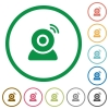Wireless camera flat icons with outlines - Wireless camera flat color icons in round outlines on white background