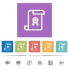 Scroll with certificate flat white icons in square backgrounds - Scroll with certificate flat white icons in square backgrounds. 6 bonus icons included.