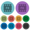 Movie effects color darker flat icons - Movie effects darker flat icons on color round background