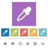 Color picker flat white icons in square backgrounds - Color picker flat white icons in square backgrounds. 6 bonus icons included.
