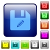 Edit file color square buttons - Edit file icons in rounded square color glossy button set